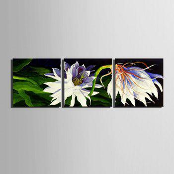Yc Special Design Frameless Paintings White Flowers of 3 - BLACK / WHITE 12 X 12 INCH (30CM X 30CM)