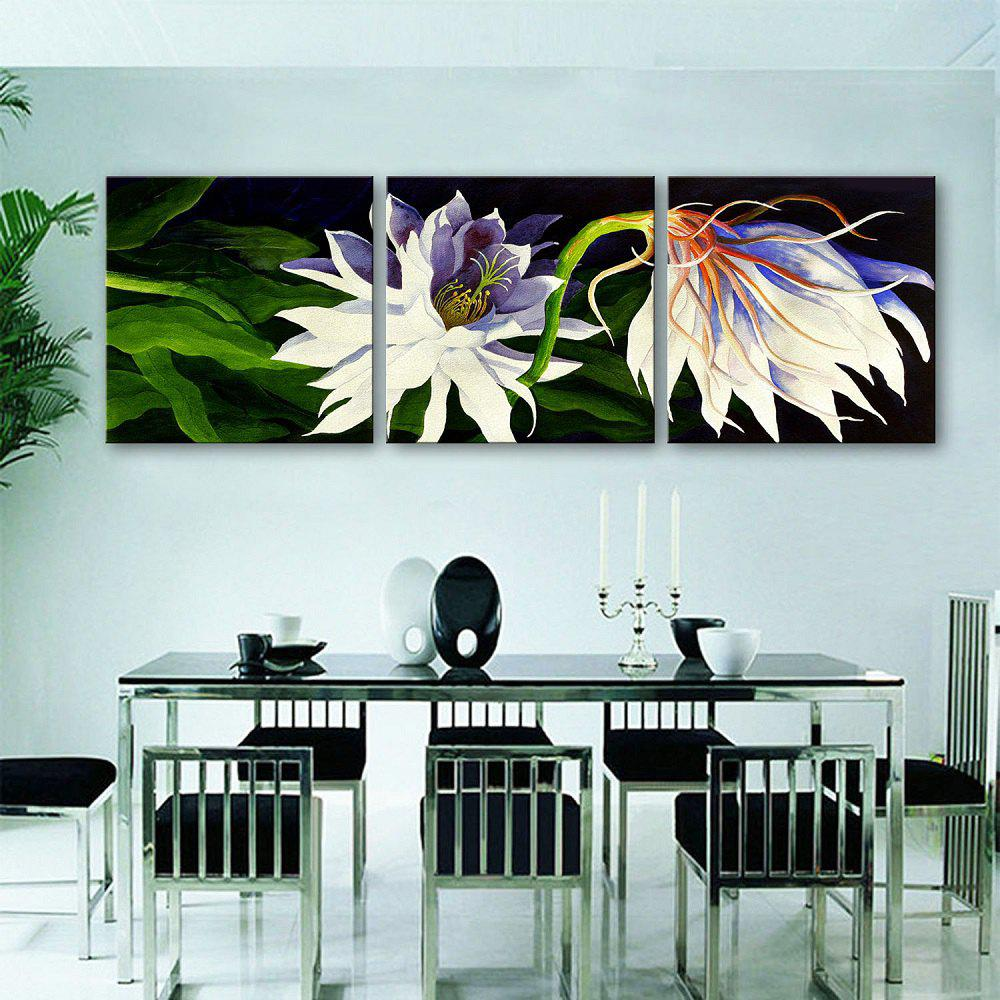 Yc Special Design Frameless Paintings White Flowers of 3 - BLACK / WHITE 24 X 24 INCH (60CM X 60CM)