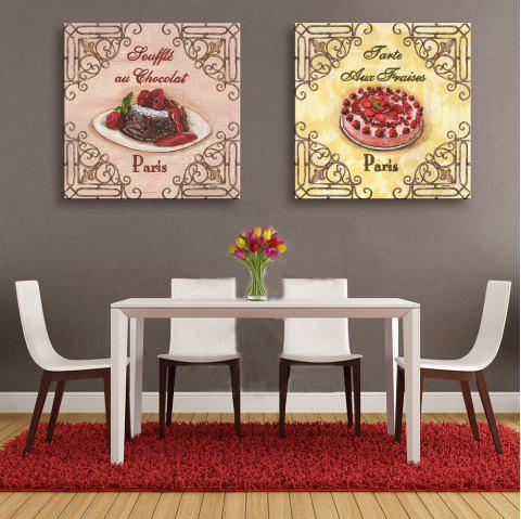 Yc Special Design Frameless Paintings Cake of 2 - Rose/Jaune/Rouge 24 X 24 INCH (60CM X 60CM)