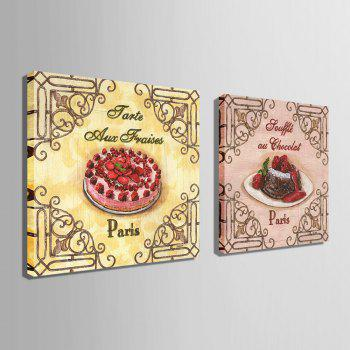 Yc Special Design Frameless Paintings Cake of 2 - PINK/YELLOW/RED 24 X 24 INCH (60CM X 60CM)