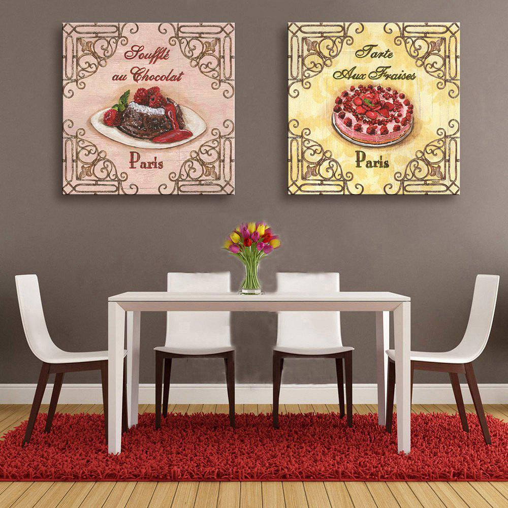 Yc Special Design Frameless Paintings Cake of 2 - Rose/Jaune/Rouge 12 X 12 INCH (30CM X 30CM)