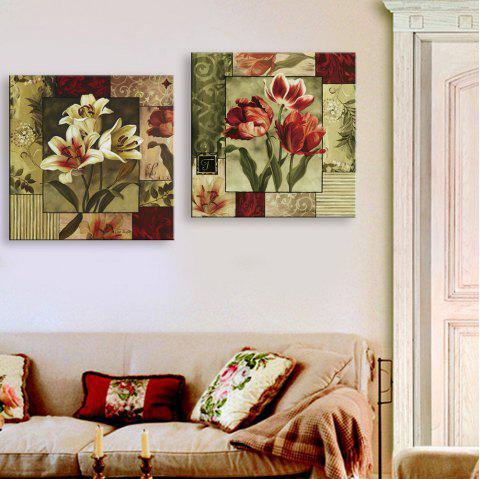 Yc Special Design Frameless Paintings Lilium of 2 - RED/CADETBLUE 12 X 12 INCH (30CM X 30CM)
