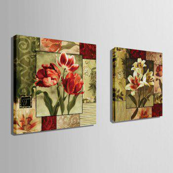 Yc Special Design Frameless Paintings Lilium of 2 - RED/CADETBLUE RED/CADETBLUE