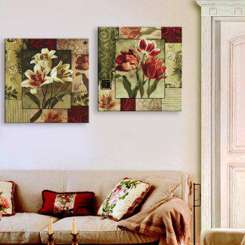 Yc Special Design Frameless Paintings Lilium of 2 - RED/CADETBLUE 20 X 20 INCH (50CM X 50CM)