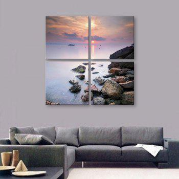 Yc Special Design Frameless Paintings Seaside Sunset of 4 - BLUE AND WHITE 12 X 12 INCH (30CM X 30CM)
