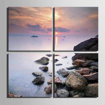 Yc Special Design Frameless Paintings Seaside Sunset of 4 - 12 X 12 INCH (30CM X 30CM) 12 X 12 INCH (30CM X 30CM)