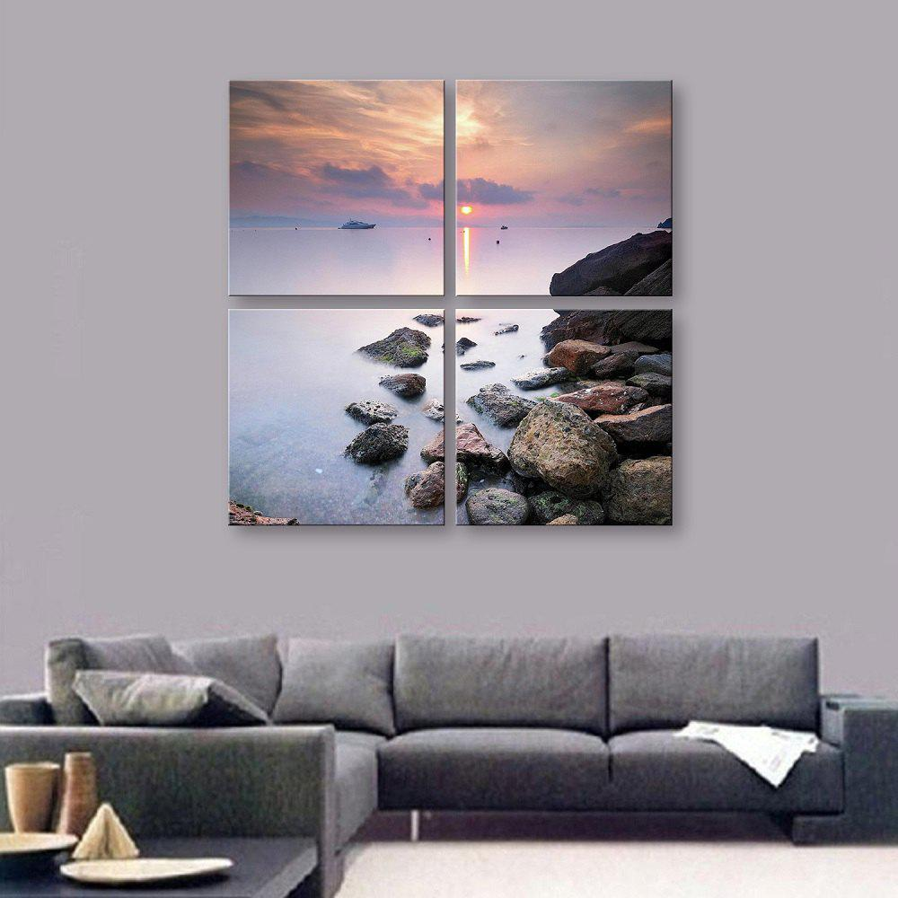 Yc Design Spécial Peintures Sans Frameless Seaside Sunset of 4 - Bleu et Blanc 16 X 16 INCH (40CM X 40CM)