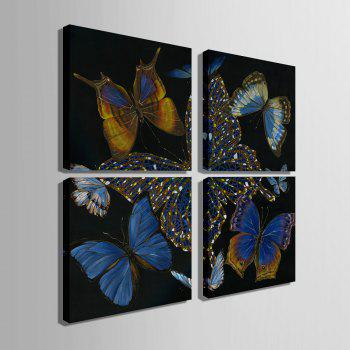 Yc Special Design Frameless Paintings Butterfly of 4 - BLACK/WHITE/PURPLE 20 X 20 INCH (50CM X 50CM)