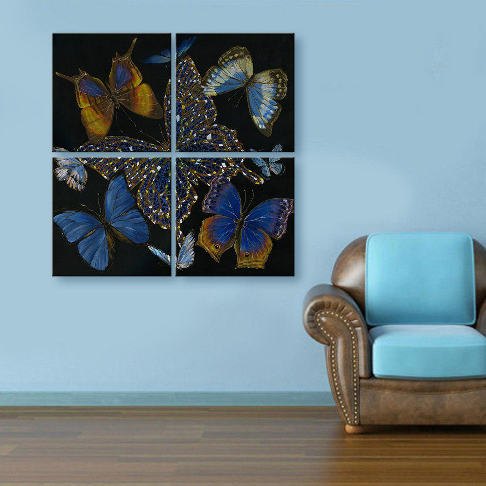 Yc Special Design Frameless Paintings Butterfly of 4 - BLACK/WHITE/PURPLE 24 X 24 INCH (60CM X 60CM)