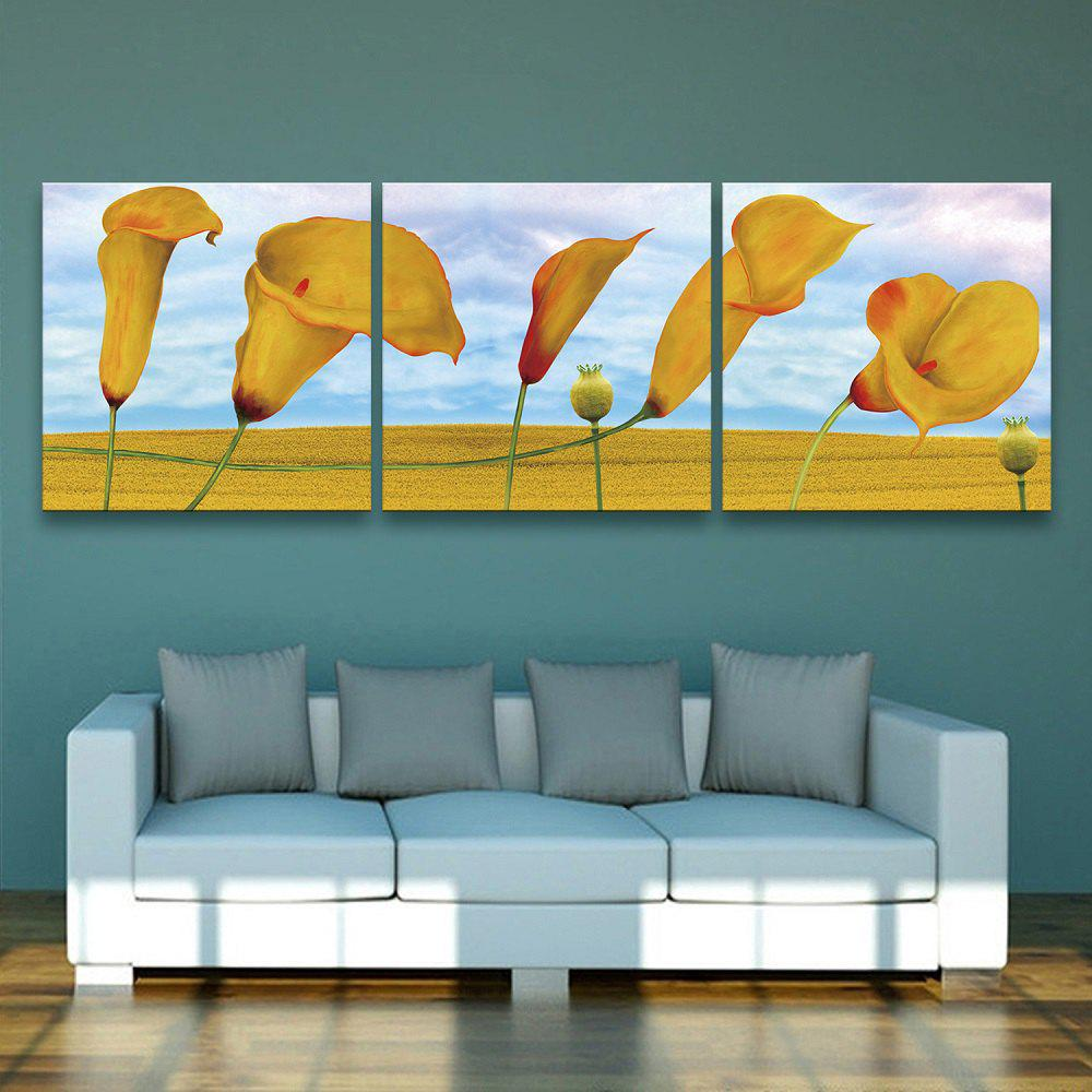 Yc Special Design Frameless Paintings Morning Glory of 3 - YELLOW 24 X 24 INCH (60CM X 60CM)