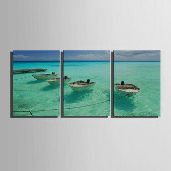 Yc Special Design Frameless Paintings The Boat And The Sea of 3 - GREEN 24 X 16 INCH (60CM X 40CM)