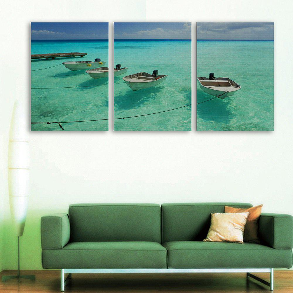 Yc Special Design Frameless Paintings The Boat And The Sea of 3 - GREEN 16 X 11 INCH (40CM X 28CM)
