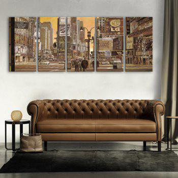 Yc Special Design Frameless Paintings Busy City of 5 - BROWN BROWN