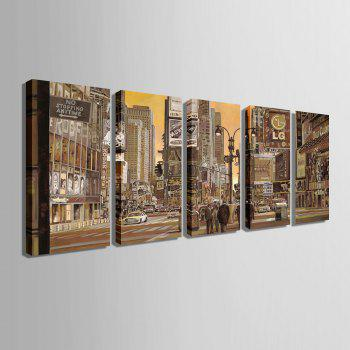 Yc Special Design Frameless Paintings Busy City of 5 - BROWN 12 X 35 INCH (30CM X 90CM)