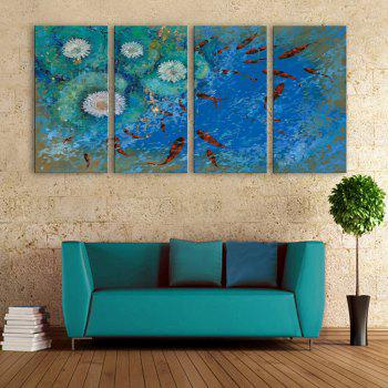 yc Special Design Frameless Paintings Carp Swimming of 4 - BLUE AND RED 9 X 28 INCH (24CM X 70CM)