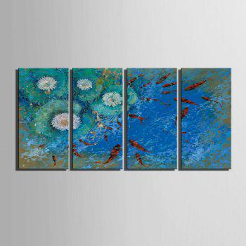 yc Special Design Frameless Paintings Carp Swimming of 4 - BLUE/RED 12 X 35 INCH (30CM X 90CM)