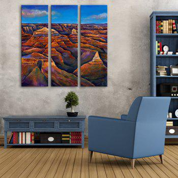 Yc Special Design Frameless Paintings The Hills of 3 - BLUE + BROWN 9 X 28 INCH (24CM X 70CM)