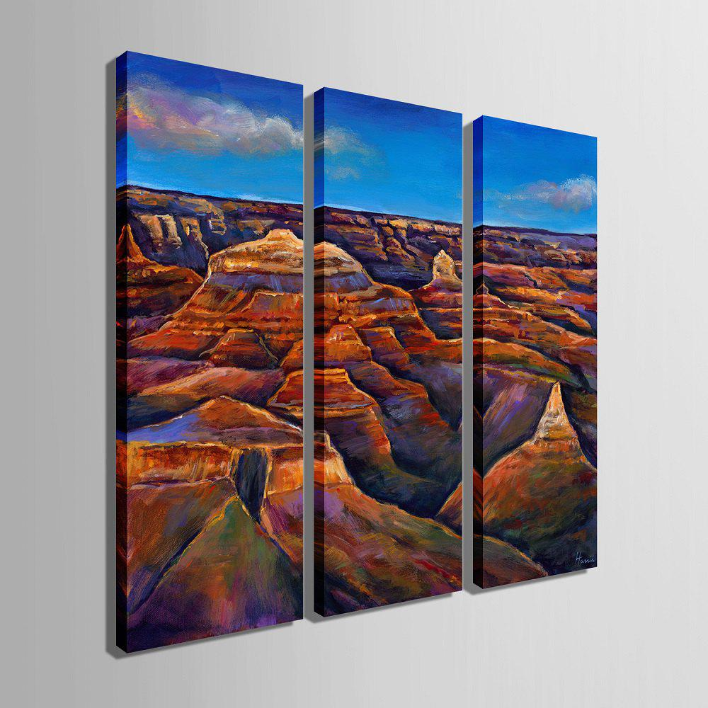 Yc Special Design Frameless Paintings The Hills of 3 - BLUE / BROWN 12 X 35 INCH (30CM X 90CM)