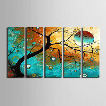 Yc Special Design Frameless Paintings Abstract Tree of 5 - BLUE AND GOLDEN 12 X 35 INCH (30CM X 90CM)