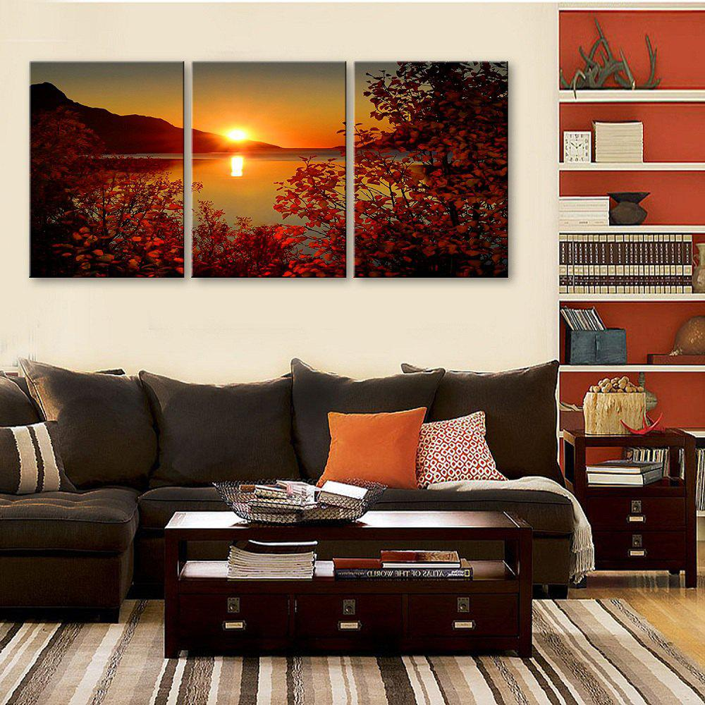 Yc Special Design Frameless Paintings The Setting Sun of 2 - ROSE RED 16 X 11 INCH (40CM X 28CM)