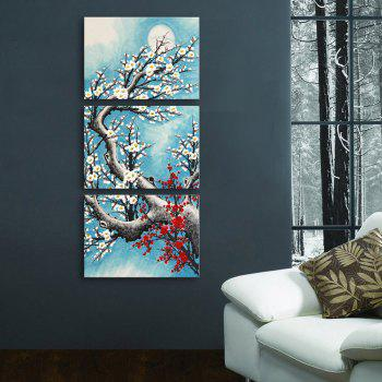 Yc Special Design Frameless Paintings Plum In Cold of 3 - LIGHT BLUE 20 X 14 INCH (50CM X 35CM)
