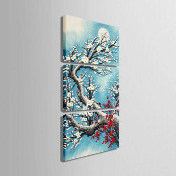 Yc Special Design Frameless Paintings Plum In Cold of 3 - LIGHT BLUE 24 X 16 INCH (60CM X 40CM)