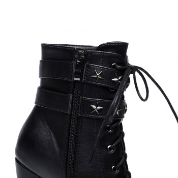 Women's Stylish Martin Boots Round Toe Thick Heels Star Rivets Pendant Lace-up Boots - BLACK 38