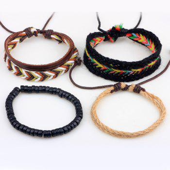4 Pcs Fashion Leather Hand Woven Bracelet - multicolorCOLOR