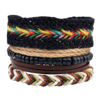4 Pcs Fashion Leather Hand Woven Bracelet - MULTICOLOR multicolorCOLOR