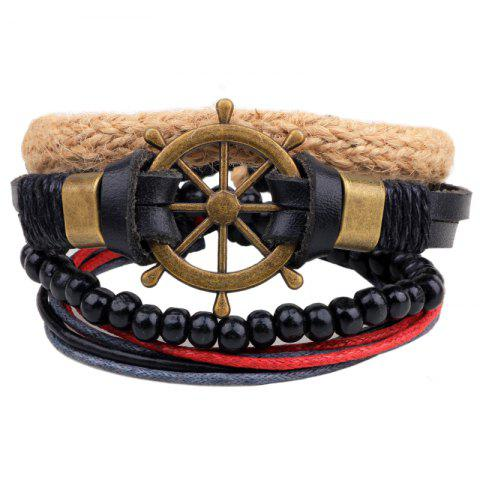 4 Pcs Hollow Out Rudder Hand Woven Diy Bracelet - multicolor COLOR