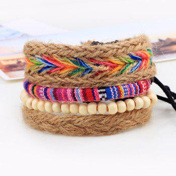 4 Pcs Hemp Rope DIY Woven Bracelets -  multicolorCOLOR