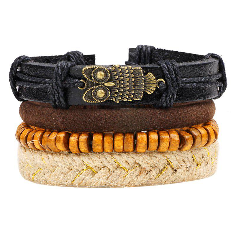 4 Pcs Vintage Owl Braided Leather Bracelet - multicolorCOLOR