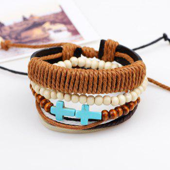 4 Pcs Cross Leather Bracelet - multicolorCOLOR