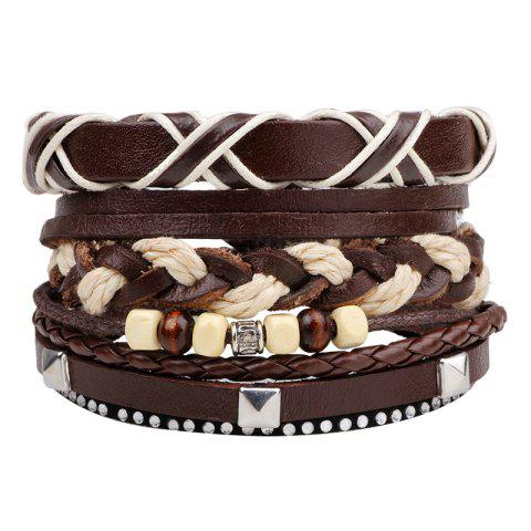 3 Pcs Braided Leather Hand Woven Bracelet - BROWN 26