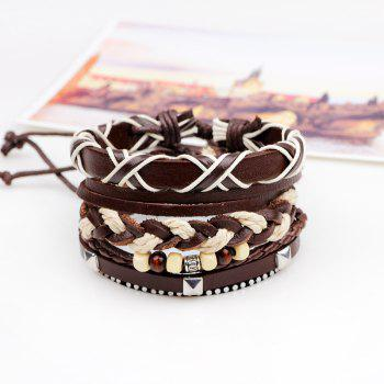 3 Pcs Braided Leather Hand Woven Bracelet - BROWN