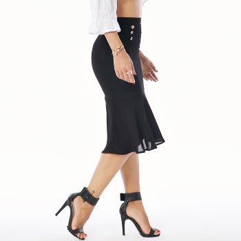 Beauty Garden Women's  High Waist Ruffle Hem Midi Length  Skirt - M M