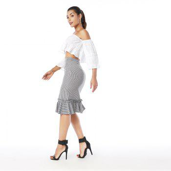 Beauty Garden Women's Plaid Asymmetric Ruffle Hem Skirt - BLACK/WHITE BLACK/WHITE
