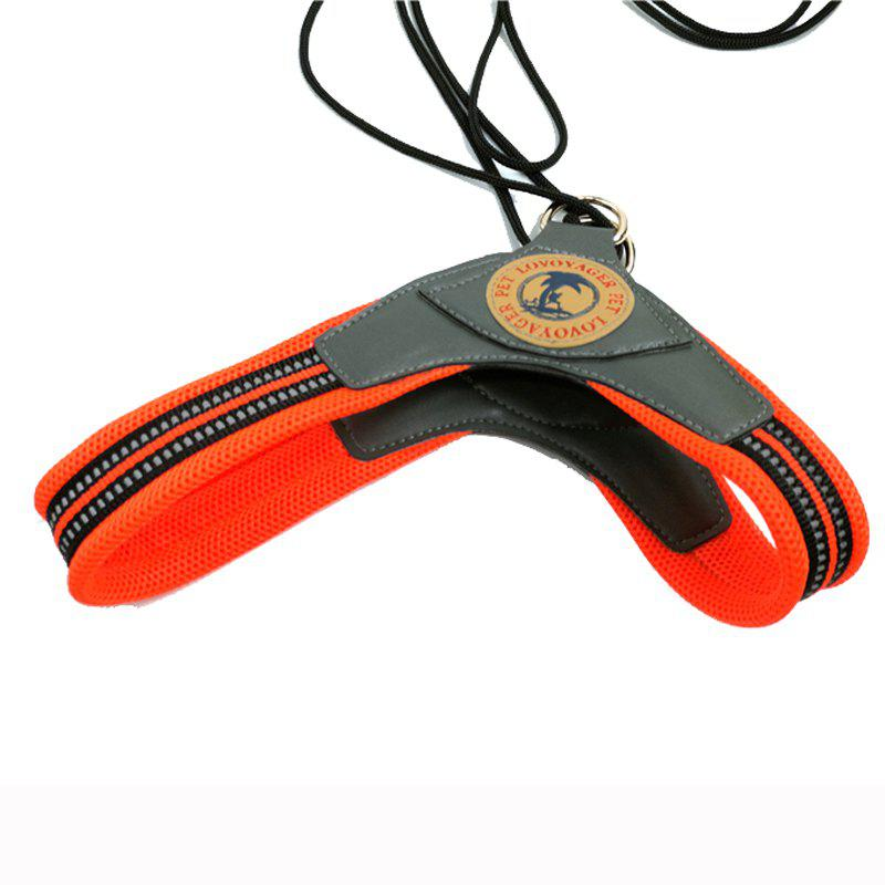 Lovoyager LVH16003 Soft Reflective Pet Dog Harness Dog Walk Collar Leashes Cat Safety Strap Vest - ORANGE S