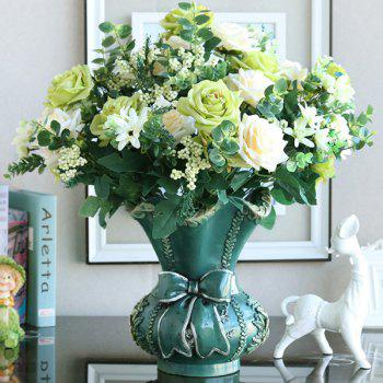 1 Branch European Style Rose Home Decoration Artificial Flower 47CM - GREEN