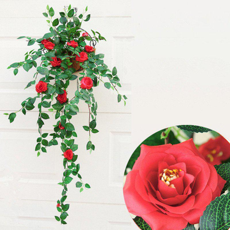 1 Bouquet Rose Wall Mounted Artificial Flower Home Decoration - 90CM - RED