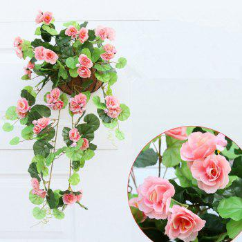 1 Bouquet Begonia Wall Mounted Artificial Flower Home Decoration - PINK PINK