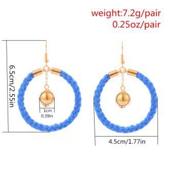 Original Design Cotton Knit Ring Earrings - BLUE/GOLDEN