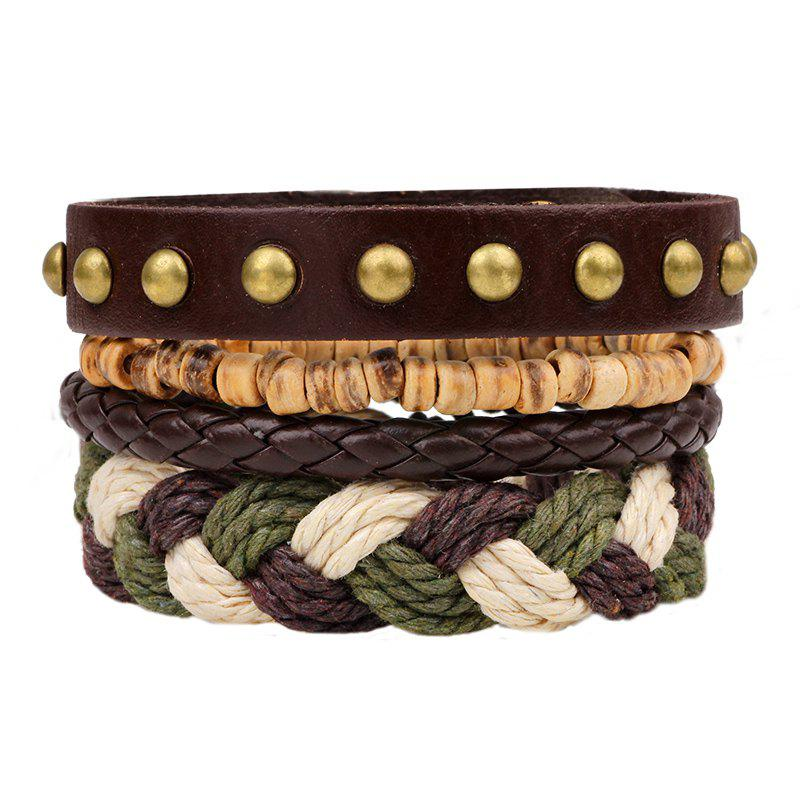 4 Pcs Fashion Hand Woven Leather Bracelet - BROWN
