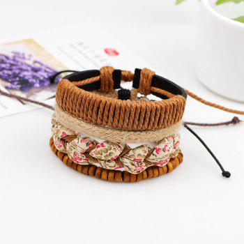4 Pcs Korea Style Braided Leather Hand Woven Bracelet - BROWN