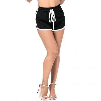 Beauty Garden Women Sport Shorts Mini Straps Casual Solid Sexy Female Shorts - BLACK BLACK