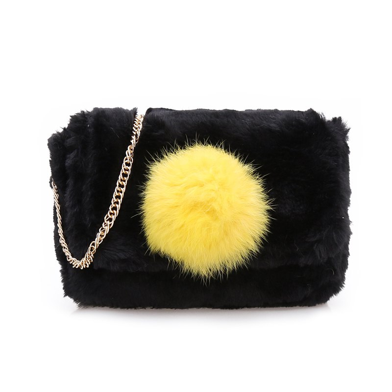 Casual Signature Contrast Color Plush Shoulder Crossbody Bag for Women - BLACK