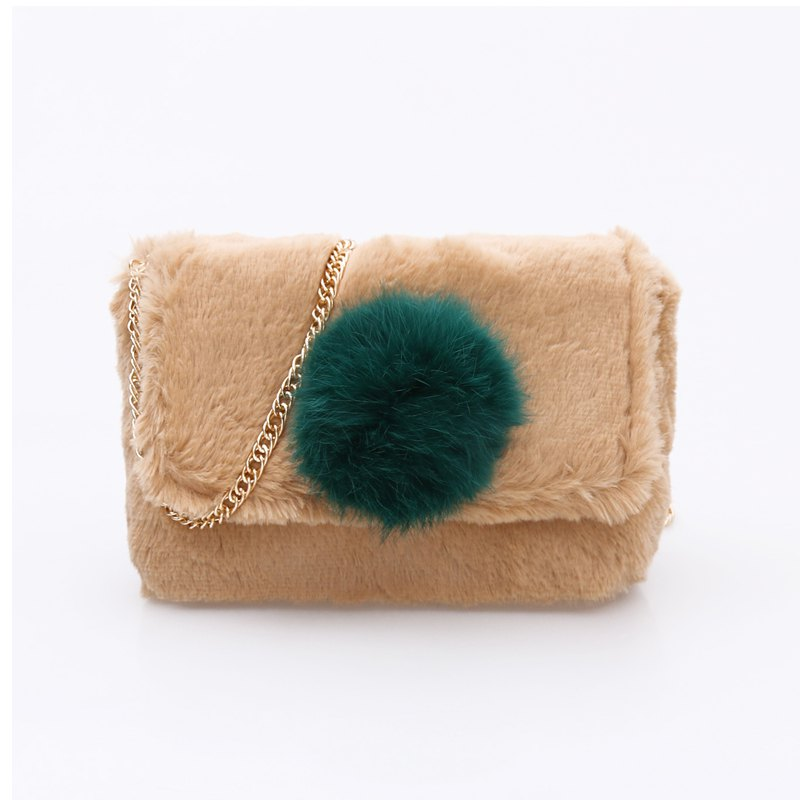 Casual Signature Contrast Color Plush Shoulder Crossbody Bag for Women - CAMEL
