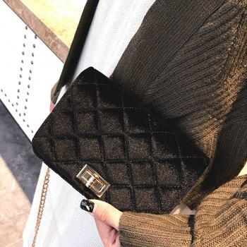 Fashion Casual Signature Pure plaid Shoulder Handbag Crossbodybagfor Women - BLACK