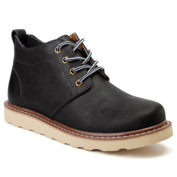 Outdoor Leisure Boots Fat Boots Thick Soled Shoes Outdoor Hiking Shoes Leather Boot - BLACK BLACK