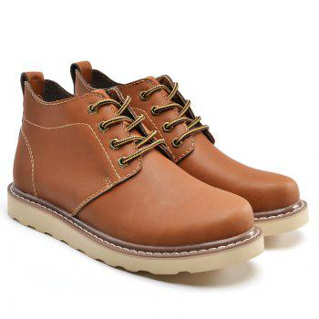 Outdoor Leisure Boots Fat Boots Thick Soled Shoes Outdoor Hiking Shoes Leather Boot - BROWN 42
